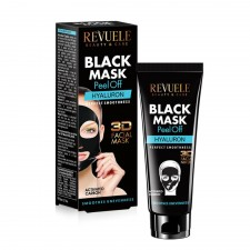 "REVUELE ""3D FACIAL MASK"" - PEEL OFF BLACK MASK with activated Carbon&HYALURON"