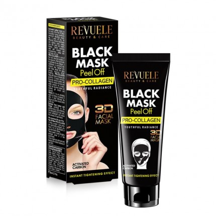 "REVUELE ""3D FACIAL MASK"" - PEEL OFF BLACK MASK with activated Carbon&CO-ENZYMES"